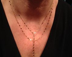 Gold Layered Lariat Sequins Necklace, Sparkly, Sexy, Y Necklace, Delicate, Modern, Minimalist, Simple, Edgy, Avery Blake