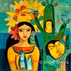 """""""Frida's Garden"""" oil on canvas 30x30 2014 © Shijun Munns. Currently in a solo exhibition at Mojo Burrito in Dunwoody, GA.  #Art #OilPaintings  #painting Mermaid Art, Blue Art, Chinese Painting, Cool Art, Awesome Art, New Work, Creative Art, Oil On Canvas, Art Photography"""