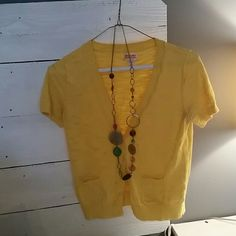 Short Sleeve Yellow Sweater Cute short sleeve yellow sweater for layering with sundress! Size small. Mossimo Supply Co Sweaters Cardigans