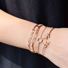 Hexagone Diamanté Rose Gold Bracelet