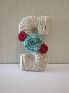 Fabric Wrapped Letter S with Fabric Flowers by FramedForGood