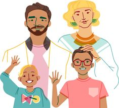 Illustration of a family Face Illustration, Family Illustration, People Illustration, Character Illustration, Digital Illustration, Airbnb Design, Tech Art, City People, Drawing People
