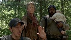 Getting information: Carol, Tyrese (Chad L. Coleman), and baby Judith discover their friends are at Terminus from a resident called Martin (Chris Coy), whom they take hostage in a cabin.