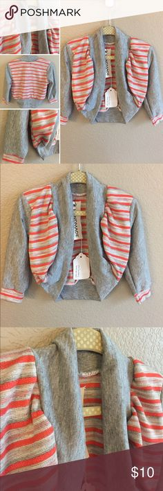 Shrug Cardigan Hand Crafted! With a shape that says girly but colors that don't scream feminine, this cardigan is perfect for a fall day. It is gray with orange stripes and a gray accent fabric. The main body is lined with more of the striped fabric for a bit of extra warmth and a nice reveal when the cardigan is open. There are no snaps or buttons, so it's easy to slide on quickly with a child that's always on the move. Snug fit. Handmade Shirts & Tops Sweaters