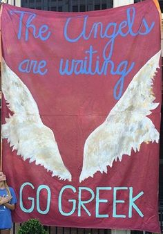 "Pi Beta Phi banner ""The angels are waiting - go greek!"" #piphi #pibetaphi"