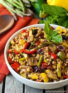 Israeli Couscous Salad with Mediterranean Roasted Vegetables