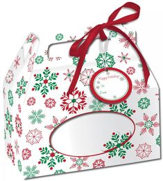 Snowflake Cookie Boxes with Handle (48/case)