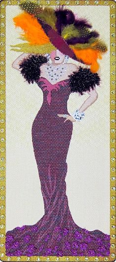 Click for Stitch Guide, Leigh showgirl needlepoint canvas