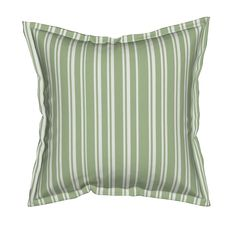 Shabby Chic Green Striped Serama Throw Pillow by thatsgraphic | Roostery Home Decor @roostery #roostery #thatsgraphicdesign