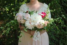 wild, organic peony bridal bouquet — WOOD FERN FLORAL