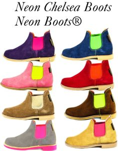 """""""Neon Chelsea boots from Neon Boots®"""" by revistafeminity ❤ liked on Polyvore"""
