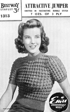 Ladies 1940s Petite Bubble Bobble Jumper Bust by PrettyOldPatterns