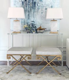 Well Appointed House Gold Leaf Greek Key Bench for $840 vs Overstock Horizon Antique Gold Natural Blend Greek Stool $203 copycatchic luxe living for less http://www.copycatchic.com/2017/03/well-appointed-house-gold-leaf-greek-key-bench.html?utm_campaign=coschedule&utm_source=pinterest&utm_medium=Copy%20Cat%20Chic&utm_content=The%20Well%20Appointed%20House%20Gold%20Leaf%20Greek%20key%20Bench