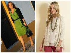 We love street style as inspiration: A wrap dress is a must-have for every wardrobe. Add a cardigan and simple accessories for a clean, put-together look! Pattern (right) is the NEW Chicago Hi-Lo Jacket in Tahki Yarns' ARUBA. (Inspiration photo, left, from ladyofstyle.com.)