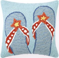 Flip Flops Blue Hook Pillow: Beach House Decor, Coastal Decor, Nautical Decor, Coastal Living Boutique, Tropical Decor