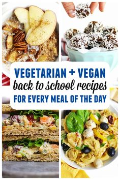 These are my go-to quick and easy back to school recipes! Delicious recipes for healthy breakfast, lunch, snacks, and dinner during the hectic back to school season. All meatless, vegetarian, and/or vegan! The best simple lunch box recipes for kids and kid friendly weeknight dinners. So many ideas! // Rhubarbarians // Quick Vegetarian Dinner, Vegetarian Meals For Kids, Vegetarian Breakfast Recipes, Vegan Recipes For Kids, Vegan Ideas, Veggie Meals, Vegetarian Food, Vegan Food, Kids Meals