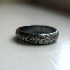 Dark sterling rustic renaissance band ring silver by tinahdee