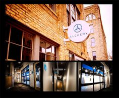 Entry: Best Innovative Solution. Alchemy. Minneapolis, MN. ASI, Minneapolis.Alchemy a new fitness club needed to reflect a modern design while keeping with the charm of it's surroundings. Signage as branding was a very close collaboration between the client and the ASI team. This project is a testament to finding meaningful ways to use signage not only as direction but also as a destination. The strategic use of vinyl, metals, lighting and acrylics really aided in the success of the project.