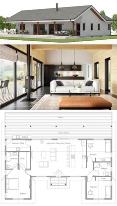 House Plan House Plan, Home Plan, Floor Plan, Dream House Plans, Small House Plans, Retirement House Plans, Modern Architecture House, Modern House Design, Farmhouse Plans, Farmhouse Trim, Farmhouse Layout, House Layouts