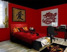 Good Oriental Themed Bedroom   Google Search | Chinese Bedroom | Pinterest |  Master Bedrooms, Accent Walls And Red