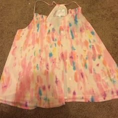 Button down top Pink top with watercolor style design. Button down. No tags but never worn Tops Button Down Shirts