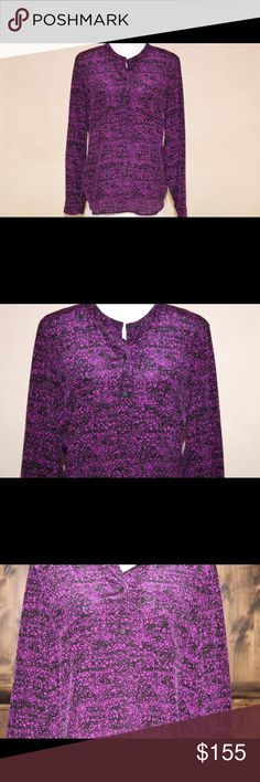 NWT Pretty REBECCA TAYLOR Magenta Silk Blouse NWT Rebecca Taylor silk blouse. It is a size 12. The color of it is magenta with a black splotchy dot pattern all over. There are buttons from the middle of the front up to the neck and a pocket on each side. Please see measurements because I believe RT runs small. Pit to Pit- 21 1/2 inches, Sleeve Length- 24 1/2 inches, Length- 27 inches. Thanks for looking! 🚫 No trades please. Reasonable offers are welcome 😊 Rebecca Taylor Tops Blouses