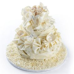 White chocolate butterfly wedding cake