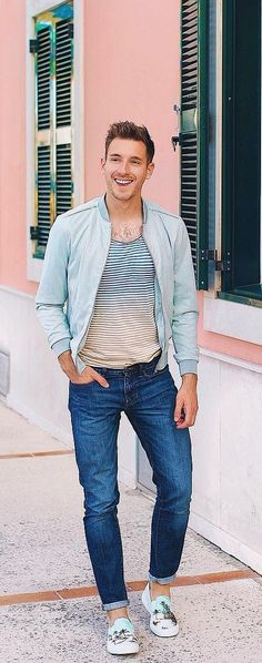 Striped T-shirt With Bomber Jacket Outfit Ideas For Men Men's Fashion, Mens Fashion Blog, Latest Mens Fashion, Urban Fashion, Daily Fashion, Fashion Guide, Fashion Ideas, Fashion Inspiration, Mens Style Guide