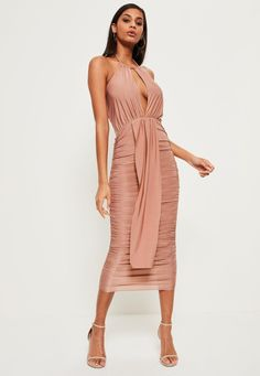 Missguided - Pink Slinky Keyhole Ruched Midi Dress