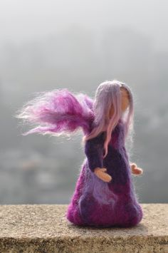 Needle Felted Waldorf Wool Fairy-Lilac fairy- standing doll-soft sculpture --needle felt by Daria Lvovsky made to custom order. $48.00, via Etsy.
