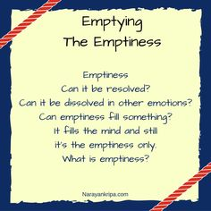 Emptying The Emptiness: A poem on the feeling of emptiness