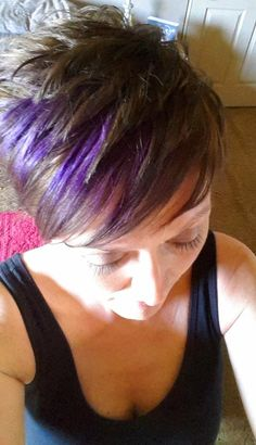 Time for a little sass! short hair, pixie cut, purple highlights