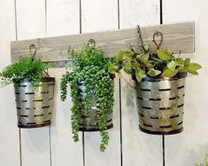 Olive bucket wall decor, Farmhouse Rustic, Modern Farmhouse decor, Wall decor,Succulent holder,Wall mount planter,Olive buckets, Rustic home