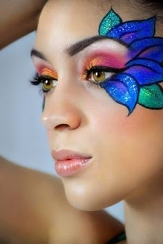 3 Edc Makeup Make Up Maquillaje Hada Maquillaje Infantil Peacock Face Painting, Face Painting Designs, Body Painting, Simple Face Paint Designs, Face Painting Flowers, Adult Face Painting, Make Up Art, Eye Make Up, Maquillage Halloween