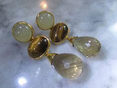 Ohrstecker - Ohrstecker Gold Tigerauge Lemonquarz Ohrringe - ein Designerstück von TOMKJustbe bei DaWanda