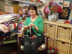 Textile artist Mandy Pattullo in her workspace - read the artist profile on Oekaki World--look up her work