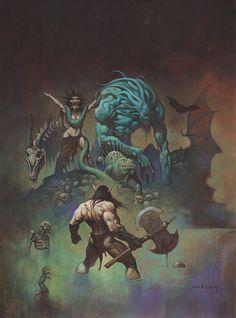 swordandsorcerytales: Conan the Barbarian by Alex Horley. Dark Fantasy Art, Fantasy Artwork, Red Sonja, Illustrations, Illustration Art, Sketchbook Cover, Conan The Barbarian, Sword And Sorcery, Geek Art