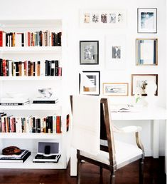 10 Tips for Creating the Ultimate At-Home Office// louis xvi arm chair, bookshelves, Parsons desk, gallery wall