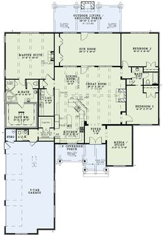 Damn near perfect! open kitchen to lg dining and family, front room to kids play with place for guests. First Floor Plan of House Plan 82229