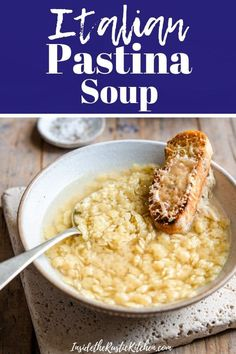 Cosy and comforting Italian Pastina Soup made with homemade chicken broth and tiny pasta stars. This easy soup recipe is the perfect way to beat those winter blues, made with wholesome ingredients and served with a cheesy parmesan crouton! Pastina Soup, Pastina Recipes, Italian Soup Recipes, Healthy Soup Recipes, Giada Recipes, Italian Meals, Chili Recipes, Make Chicken Broth, Soup And Salad