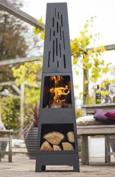 La Hacienda 150 cm Oxford Contemporary Steel Chiminea Patio Heater with Wood Store - Black