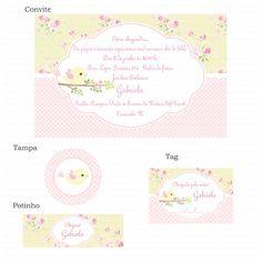 Kit digital passarinhos amarelo e rosa floral Charme papeteria - Kits digitais www.charmepapeteria.com
