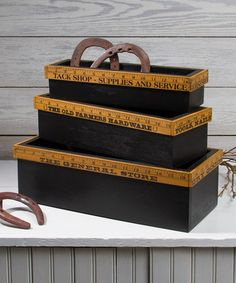 Another great find on #zulily! Vintage Yardstick Box - Set of Three #zulilyfinds  ($50) really like these but, wish they were cheaper!