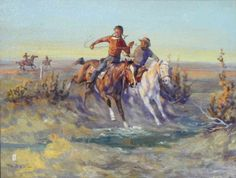Chasing the Blackfeet By Ace Powell  oil kp