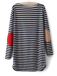 AWESOME SITE!!!!! Blue Long Sleeve Striped Straight Dress - Sheinside.com