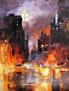 Painting by Benoit Havard (France) Abstract City, City Painting, Orange Art, Cyberpunk Art, Landscape Illustration, Fantastic Art, City Art, Urban Landscape, Online Art Gallery
