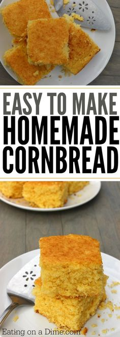 Looking for an easy homemade cornbread recipe? This is the best corn bread recipe where you can make cornbread from scratch easily. Try this buttery cornbread recipe today! Best Savory Cornbread Recipe, Cornbread Recipe From Scratch, Cornbread Cake, Homemade Cornbread, Healthy Bread Recipes, Homemade Cake Recipes, Homemade Breads, Cooking Recipes, Preschool Cooking