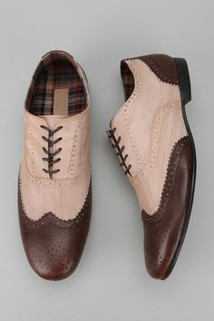 * Slim wingtip oxford from BED:STU * Rich distressed leather uppers with traditional broguing * Tonal laces * Plaid lining * Cushioned footbed * Distressed rubber dress sole with low block heel Content & Care: * Leather, rubber * Spot clean * Imported Fancy Shoes, Men's Shoes, Shoe Boots, Dress Shoes, Shoe Bag, Mens Wingtip Shoes, Brogues, Rubber Dress, Mens Clothing Styles