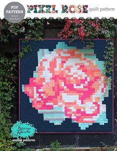 PDF pattern Instant Download Recollection PIXEL ROSE modern quilt by Katarina…