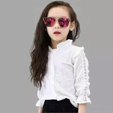 ALL 853.66  36% Off | Girls White Blouse Spring Summer Teenager Lace Girls Tops School Uniforms Shirt Long-Sleeve Children Clothing 6 8 10 12 Girls White Blouse, Teen Stores, Uniform Shirts, Girl Sleeves, School Girl Outfit, Cheap Blouses, Blouse Outfit, Mandarin Collar, Shirts For Girls